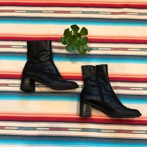 Bass Black Leather Side Zipper Booties